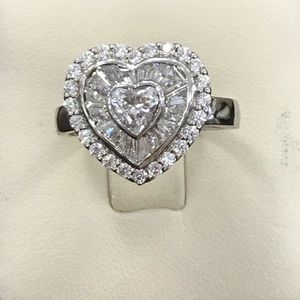 Jewelry - 14k white gold CZ heart ring